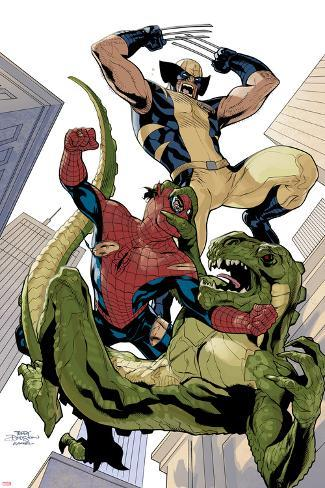 X-Men No.10 Cover: Wolverine and Spider-Man Fighting while Falling Poster