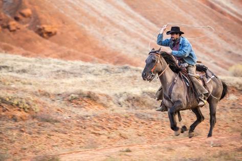 Cowboy at Full Gallop Stampa fotografica