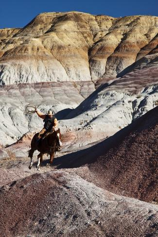 Cowboy in the Painted Hills Stampa fotografica
