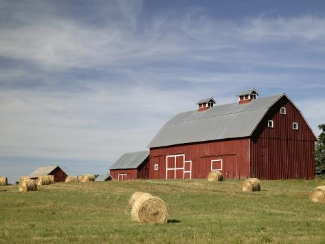 Hay Bales and Red Barn Photographic Print
