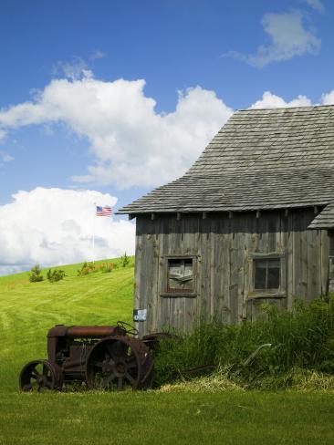 Old Barn and Tractor, Palouse County, Idaho, USA Photographic Print