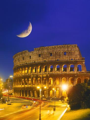 Colosseum at Night, Rome, Italy Photographic Print