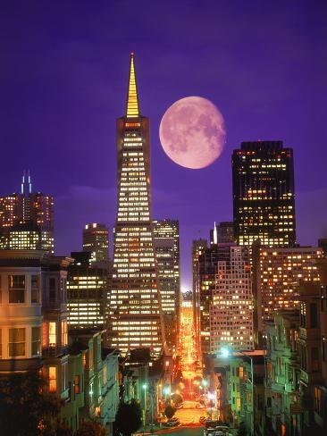 Moon Over Transamerica Building, San Francisco, CA Photographic Print