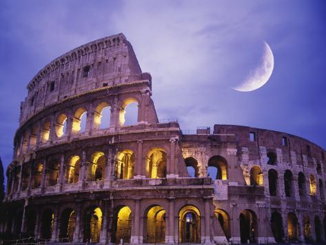 The Colosseum at Night, Rome, Italy Photographic Print