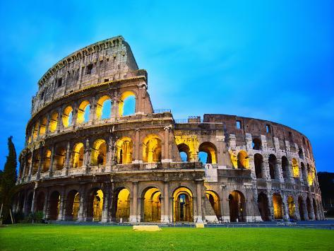 The Colosseum in Rome at Night Photographic Print
