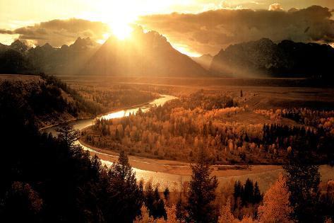 Teton & Snake River (Setting Sun) Photo