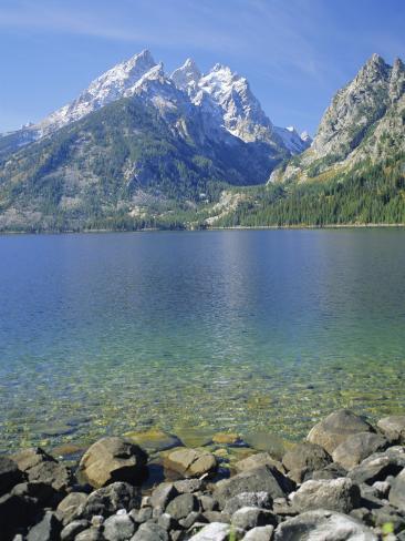 Tetons and Jenny Lake, Grand Teton National Park, Wyoming, USA Photographic Print