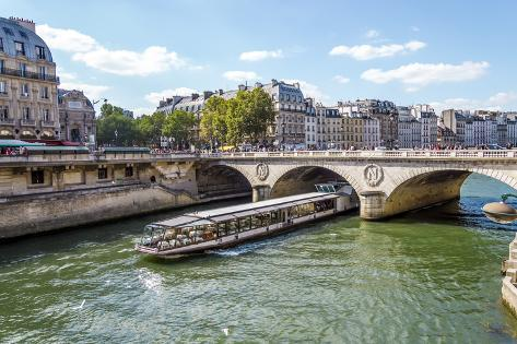 Tourist Cruise Luxury Restaurant Boat in River Seine Paris France Photographic Print