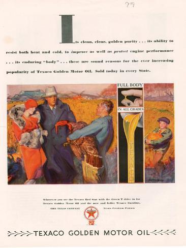 Texaco, Magazine Advertisement, USA, 1928 Giclee Print