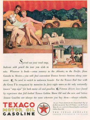 Texaco, Magazine Advertisement, USA, 1929 Giclee Print