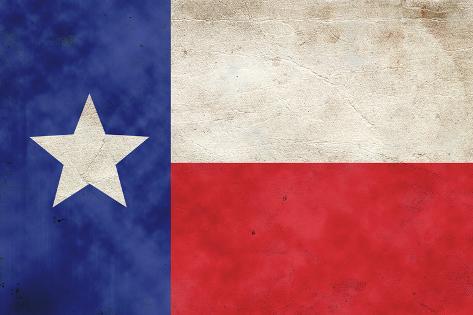 Texas Flag Distressed Art Print