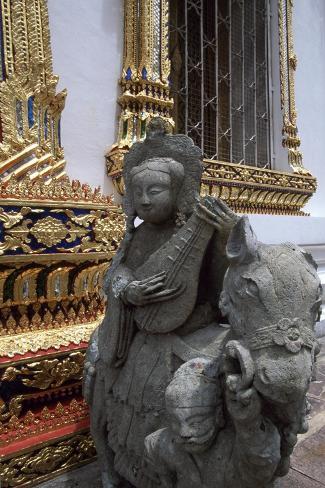 Thailand, Bangkok, Wat Pho Temple, Detail of Statue Giclee Print
