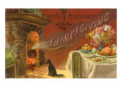Thanksgiving Smoke Coming out of Fireplace Art Print