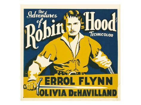 The Adventures of Robin Hood, Errol Flynn on Jumbo Window Card, 1938 Stretched Canvas Print