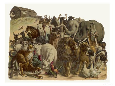 The Animals Emerge Two by Two from Noah's Ark Giclee Print