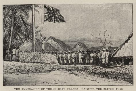 The Annexation of the Gilbert Islands, Hoisting the British Flag Giclee Print