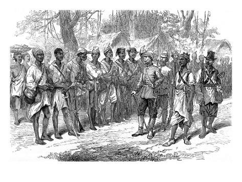 The Ashanti War (1873-74) - Inspecting Troops at Prahsu Stretched Canvas Print