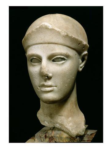 The Athena of Aegina, Wearing a Helmet, Head of a Statue, Greek, Aeginetan, circa 460 BC Giclee Print