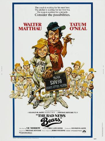 THE BAD NEWS BEARS, US poster, from left: Tatum O'Neal, Walter Matthau, 1976 Art Print