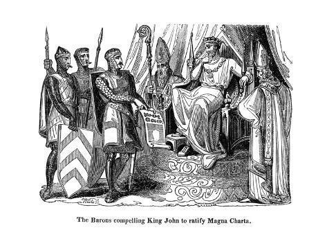The Barons Compelling King John (1167-121) to Ratify the Magna Carta, 1215 Lámina giclée