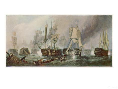 The Battle of Trafalgar and the Victory of Lord Nelson Over the Combined French and Spanish Fleets Giclee Print