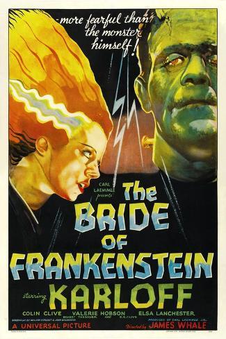 THE BRIDE OF FRANKENSTEIN, from left: Elsa Lanchester, Boris Karloff, 1935 Art Print