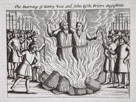The Burning of Henry Voes and John Esch, Friers Augustines, Illustration from 'Acts and… Lámina giclée