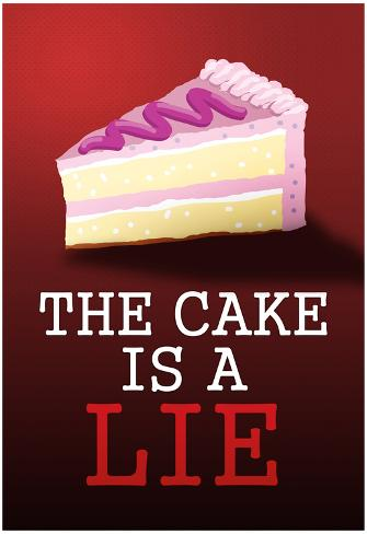 The Cake is a Lie Portal Video Game Poster Print Poster