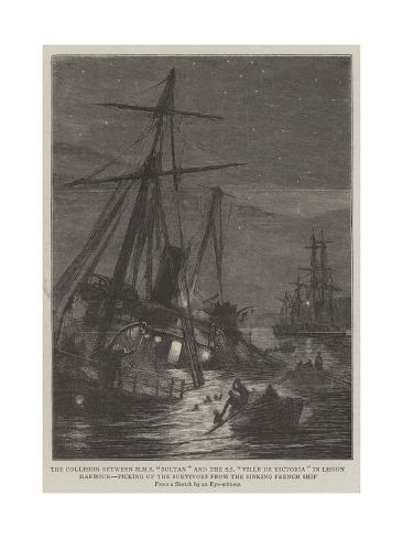 The Collision Between HMS Sultan and the Ss Ville De Victoria in Lisbon Harbour Giclee Print