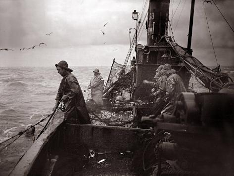 The Crew of a Yarmouth Herring Boat Pull in Their Catch on a Storm Tossed North Sea, 1935 Photographic Print
