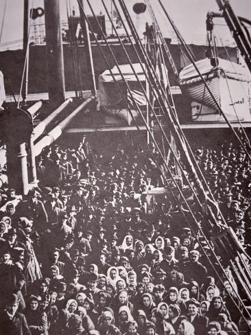 The Crowded Deck of an Immigrant Ship Entering New York Harbour, c.1905 Photographic Print