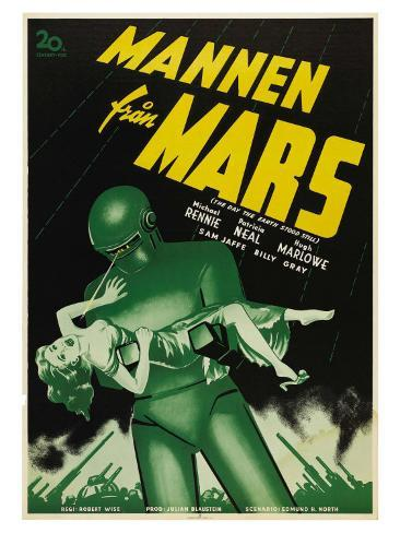 The Day The Earth Stood Still, Swedish Movie Poster, 1951 Impressão artística