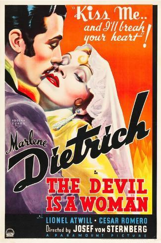 THE DEVIL IS A WOMAN, from left: Cesar Romero, Marlene Dietrich, 1935 Art Print