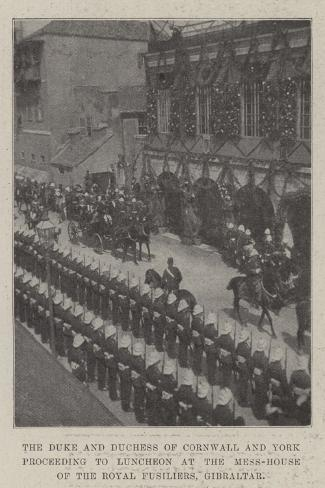 The Duke and Duchess of Cornwall and York Proceeding to Luncheon at the Mess-House of the Royal Fus Giclee Print