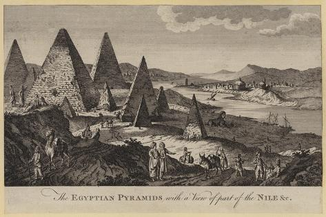 The Egyptian Pyramids with a View of Part of the Nile, Etc Giclee Print