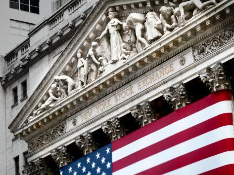 The elaborate stone work on the New York Stock Exchange facade Photographic Print