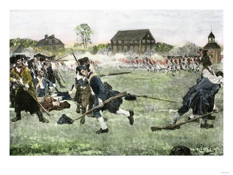 The Fight on Lexington Green, April 19, 1775, Beginning the Revolutionary War Giclee Print