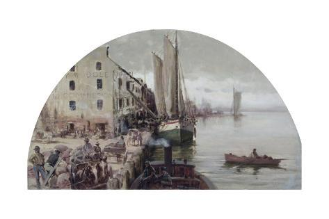 The First Grain Elevator in Chicago, 1838 by Lawrence Carmichael Earle, 1845-1921 Stretched Canvas Print