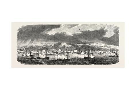 The French and British Fleets at Cherbourg Giclee Print