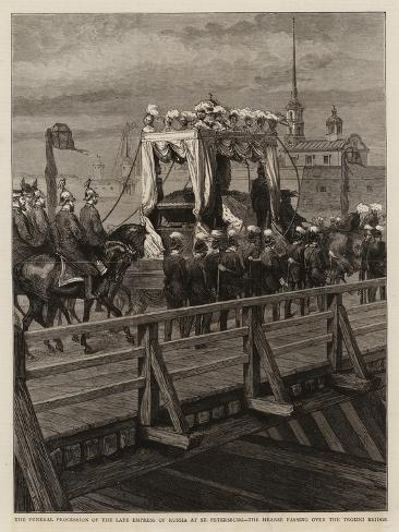 The Funeral Procession of the Late Empress of Russia at St Petersburg Giclee Print