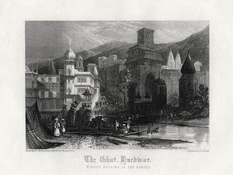 The Ghat, Hurdwar, Hindus Bathing in the Ganges, 19th Century Giclee Print