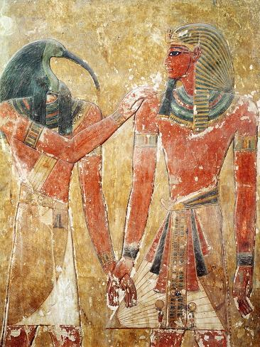 The God Thoth with Seti I in the Tomb of Seti I, New Kingdom Lámina giclée