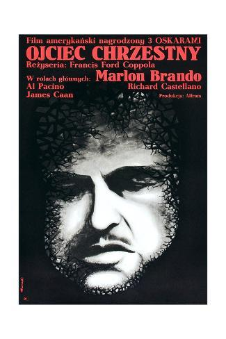 The Godfather (AKA Ojciec Chrzestny), Marlon Brando on Polish Poster Art, 1972 Lámina giclée
