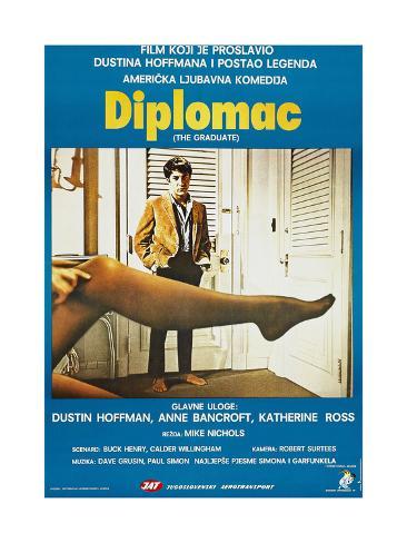 The Graduate, (aka Diplomac), Yugoslavian poster, Dustin Hoffman, 1967 Art Print