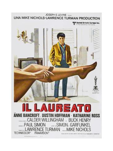 The Graduate, (aka Il Laureato), Italian poster, Dustin Hoffman, 1967 Stampa artistica
