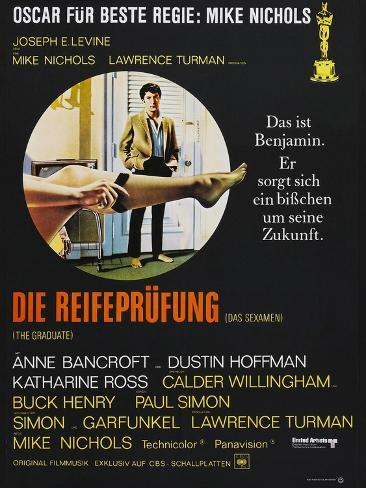 The Graduate (Die Reifeprufung), German poster, Dustin Hoffman, 1967 Art Print