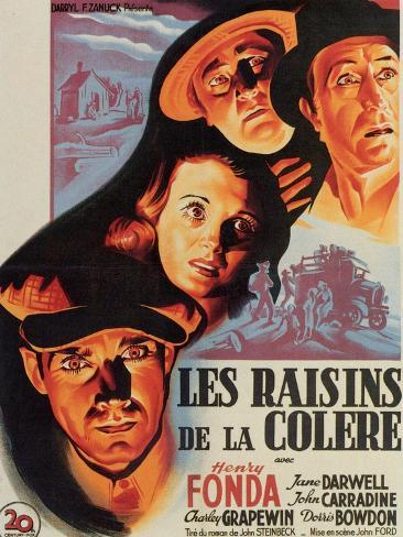 The Grapes of Wrath, French Movie Poster, 1940 Art Print