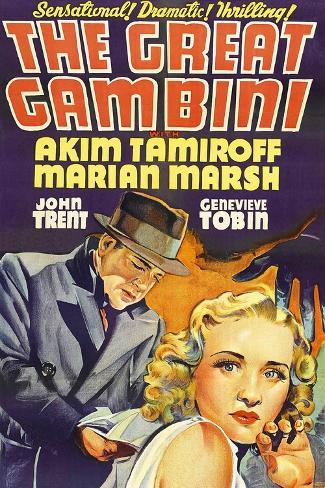 THE GREAT GAMBINI, US poster art, from left: Akim Tamiroff, Marian Marsh, 1937 Art Print