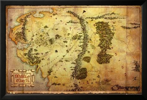 The Hobbit-Map Póster enmarcado con plástico protector