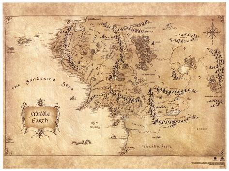 the hobbit middle earth map movie poster